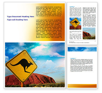 Agriculture and Animals: Kangaroo Sign Word Template #06697