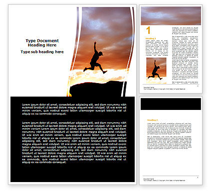 Jumper On Sunset Word Template, 06709, Business Concepts — PoweredTemplate.com