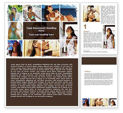 Tan Girls Word Template, 06719, People — PoweredTemplate.com