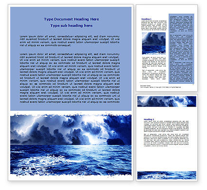 Nature & Environment: Royal Blue Sea Word Template #06725