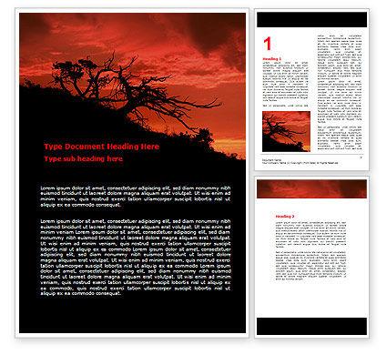 Crimson Sunset Word Template, 06727, Nature & Environment — PoweredTemplate.com