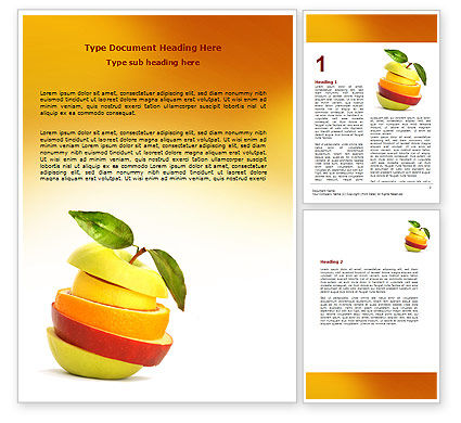 Food & Beverage: Cut Apple Word Template #06731