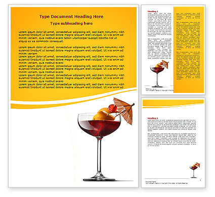 Food & Beverage: Margarita Cocktail Word Template #06739