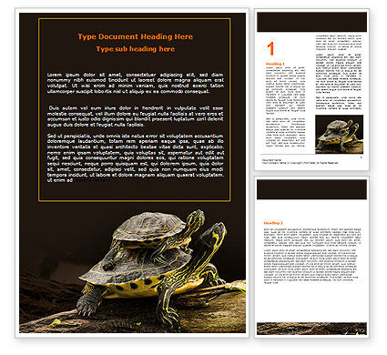 Two Turtles Word Template, 06741, Agriculture and Animals — PoweredTemplate.com