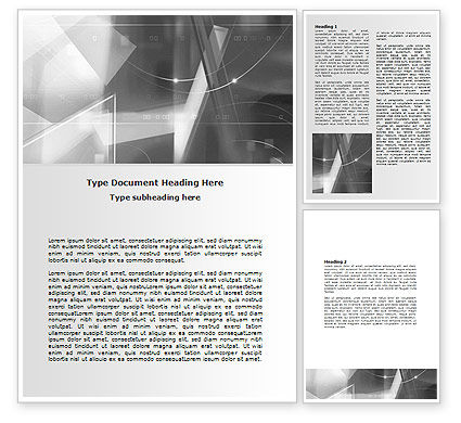 Technology, Science & Computers: Abstract Geometry In Gray Word Template #06746