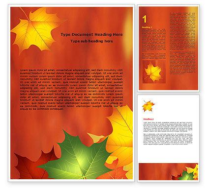 Autumn Leaves Theme Word Template, 06756, Nature & Environment — PoweredTemplate.com