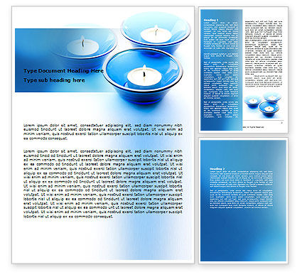 Holiday/Special Occasion: Blue Candles Word Template #06778