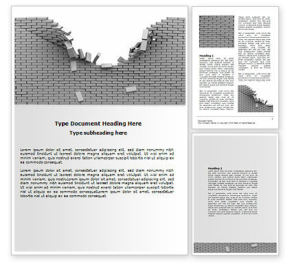 Consulting: Broken Wall In Gray Word Template #06781