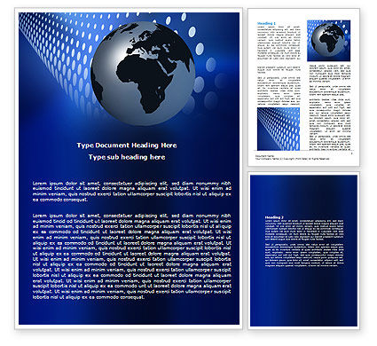 Global: Globe in Blue Word Template #06784