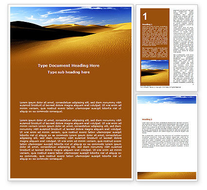 Sand Dune Word Template, 06793, Nature & Environment — PoweredTemplate.com