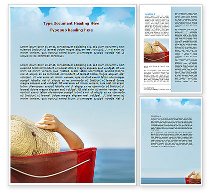 Lady On The Beach Word Template, 06799, Careers/Industry — PoweredTemplate.com