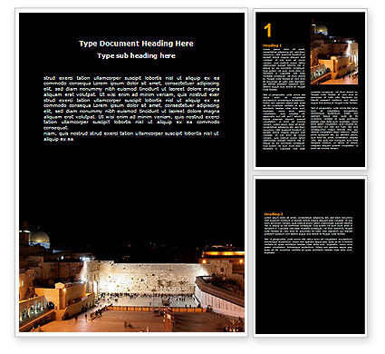 Religious/Spiritual: The Wailing Wall Word Template #06805