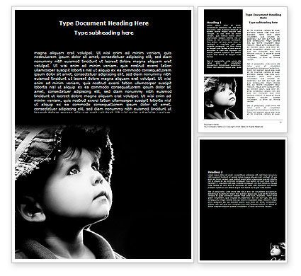 People: Child In Black And White Word Template #06817