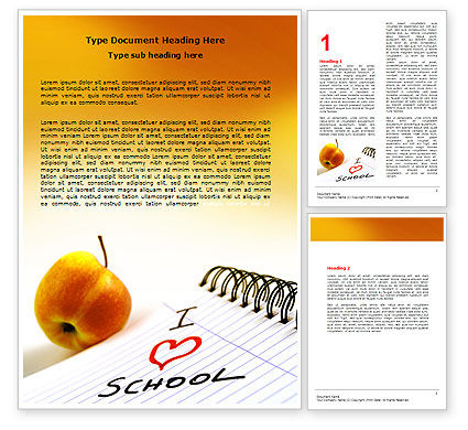 Education & Training: Loving School Word Template #06818