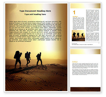 Backpacking In Sands Word Template, 06820, Sports — PoweredTemplate.com