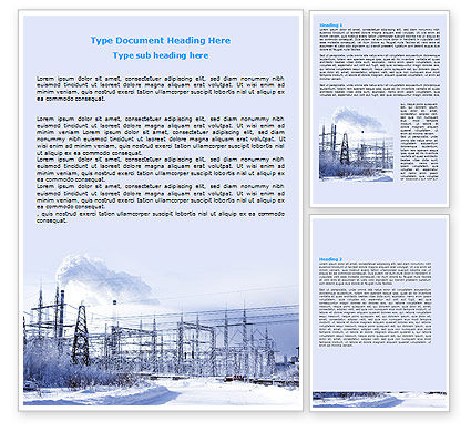 Careers/Industry: Snowcovered Power Line Word Template #06828