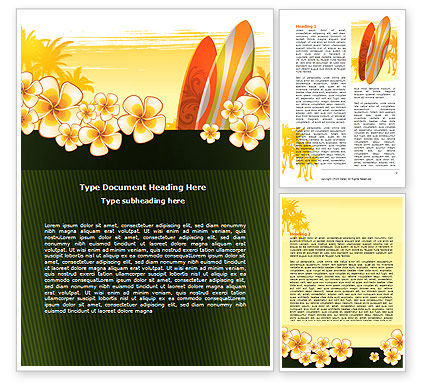 Surfing Theme Word Template, 06869, Holiday/Special Occasion — PoweredTemplate.com