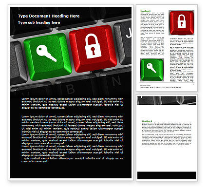 Business Concepts: Lock And Key On The Keyboard Word Template #06905