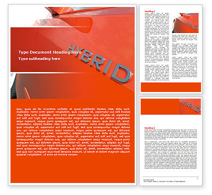 Technology, Science & Computers: Hybrid Car Word Template #06911