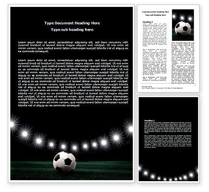 Football Stadium In The Night Word Template, 06916, Sports — PoweredTemplate.com