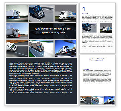 Trailer Trucks Word Template, 06923, Cars/Transportation — PoweredTemplate.com