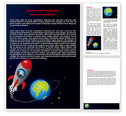 Education & Training: Cartoon Rocket Word Template #06937