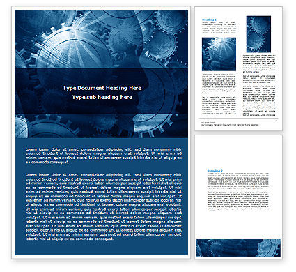 Technology, Science & Computers: Modelo do Word - engrenagens de trabalho #06945