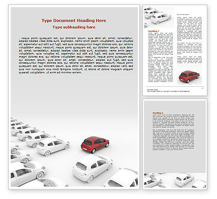 Red Car Word Template, 06951, Cars/Transportation — PoweredTemplate.com