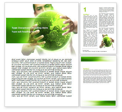 Green World in Human Hands Word Template, 06955, Nature & Environment — PoweredTemplate.com