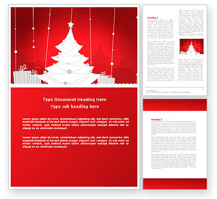 Christmas Tree Theme Word Template, 06966, Holiday/Special Occasion — PoweredTemplate.com