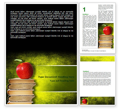Education & Training: Apple and Books Word Template #06997