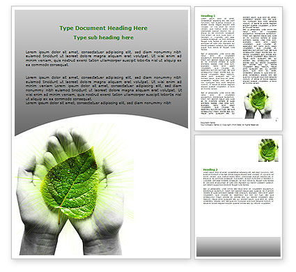Glowing Leaf Word Template, 06999, Nature & Environment — PoweredTemplate.com