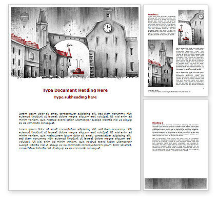 Construction: Old City Drawing Word Template #07006