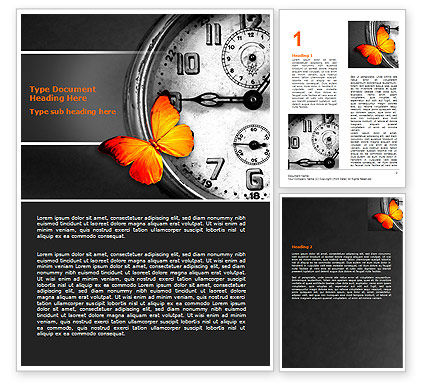 Business Concepts: Butterfly Sitting On The Clock Word Template #07007
