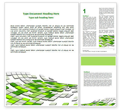Abstract/Textures: Green Pixelated Theme Word Template #07017