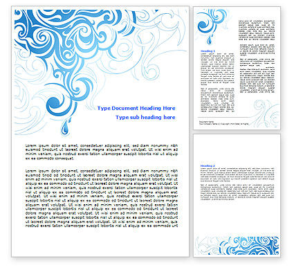 Abstract/Textures: Blue Curls Word Template #07023