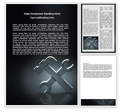 Utilities/Industrial: Modelo do Word - ferramentas estilizadas em cor cinza #07024