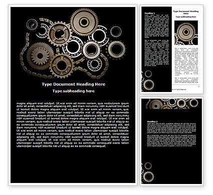 Mechanical Wheels Word Template, 07034, Utilities/Industrial — PoweredTemplate.com