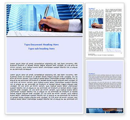 Signing Document Word Template, 07049, Business — PoweredTemplate.com