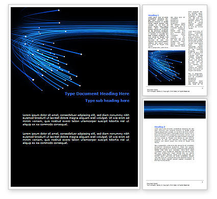 Blue Optic Fibers Word Template, 07052, Technology, Science & Computers — PoweredTemplate.com