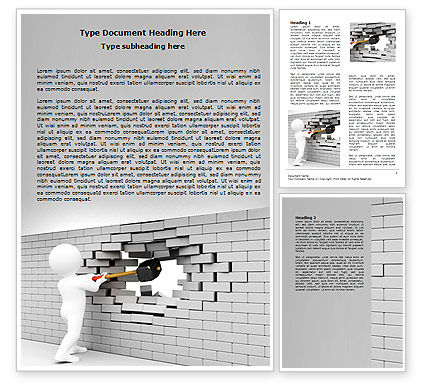 Business Concepts: Breaking the Wall Word Template #07058