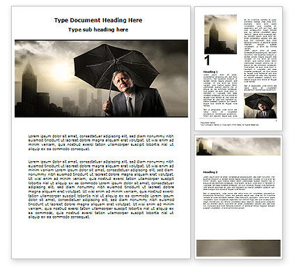 Consulting: Umbrella Man Word Template #07069