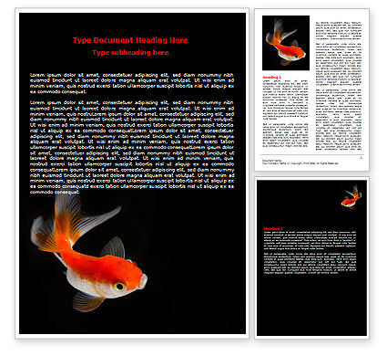 Agriculture and Animals: Goldfish On The Black Background Word Template #07074