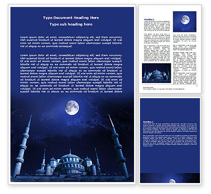 Religious/Spiritual: Mosque In Moonlight Word Template #07076