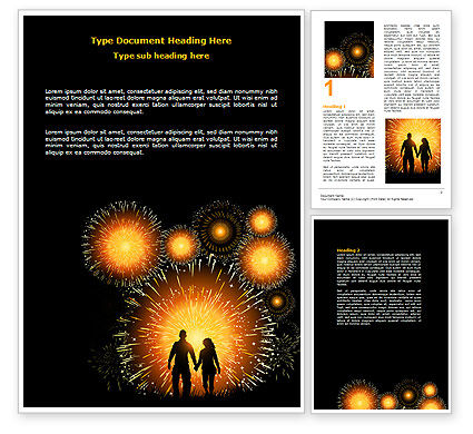Beautiful Fireworks Word Template, 07099, Holiday/Special Occasion — PoweredTemplate.com