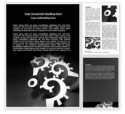 Mechanical Question Marks Word Template, 07112, Consulting — PoweredTemplate.com
