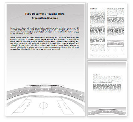 Football Stadium In Light Gray Colors Word Template, 07118, Construction — PoweredTemplate.com