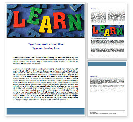 Learn Word Template, 07122, Education & Training — PoweredTemplate.com
