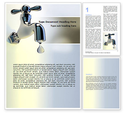Water Tap Word Template, 07138, Nature & Environment — PoweredTemplate.com