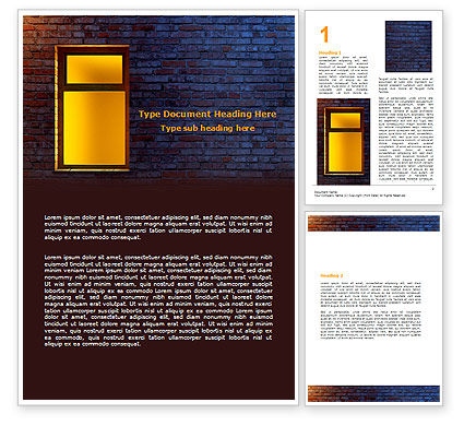 Consulting: Yellow Window On The Brick Wall Word Template #07152